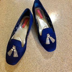 Isaac Mizrahi New York Kimil navy suede loafers